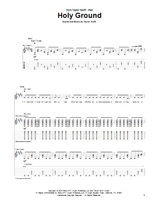 Tablature guitare Holy Ground de Taylor Swift - Tablature Guitare