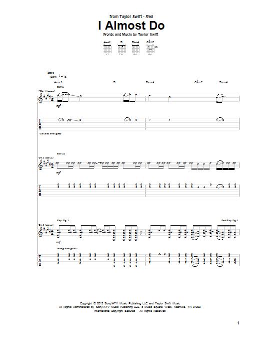 Tablature guitare I Almost Do de Taylor Swift - Tablature Guitare