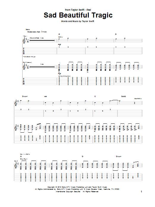 Tablature guitare Sad Beautiful Tragic de Taylor Swift - Tablature Guitare