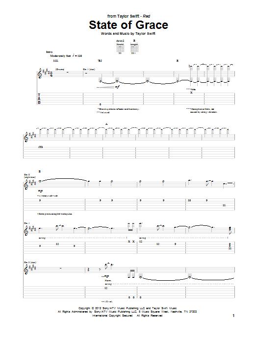 Tablature guitare State Of Grace de Taylor Swift - Tablature Guitare