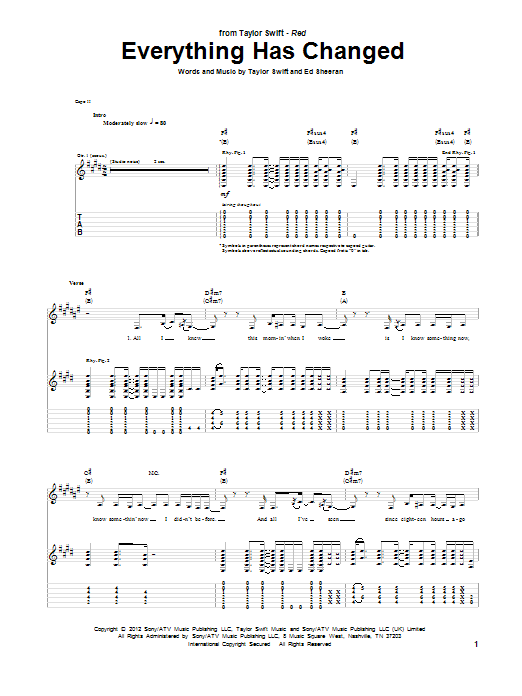 Tablature guitare Everything Has Changed de Taylor Swift - Tablature Guitare