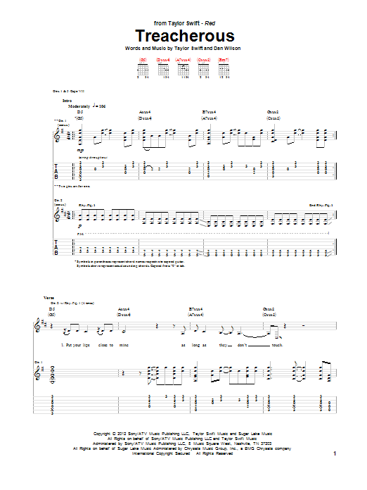 Tablature guitare Treacherous de Taylor Swift - Tablature Guitare
