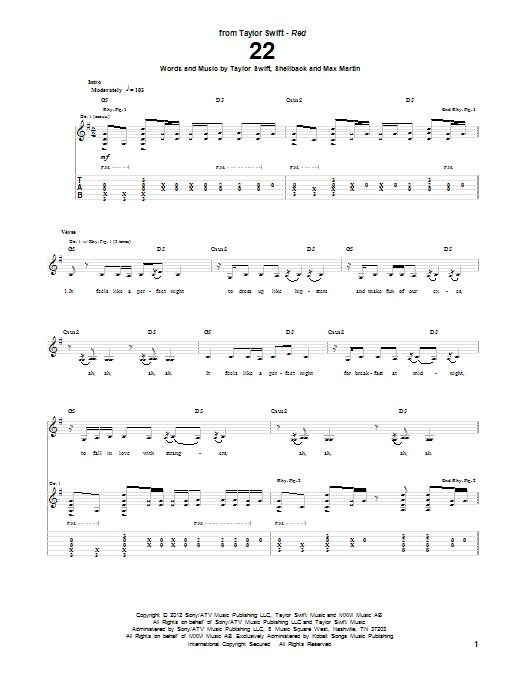 22 taylor swift guitar chords