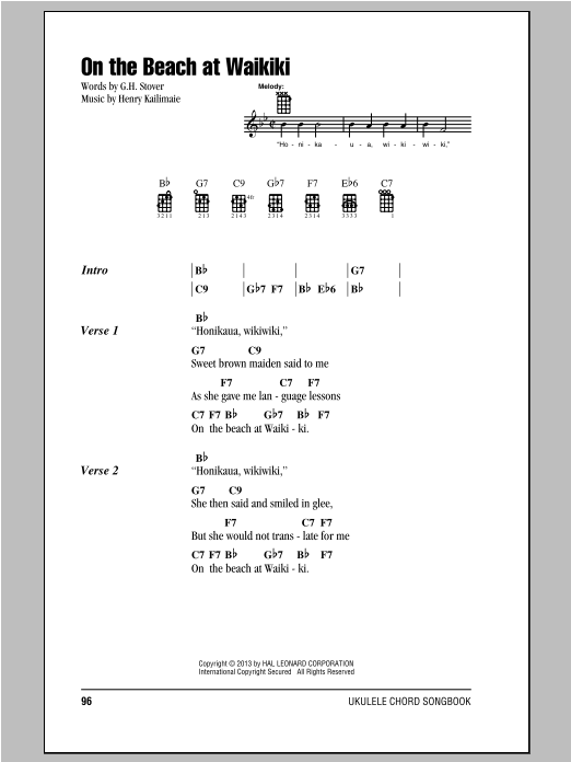 Tablature guitare On The Beach At Waikiki de G.H. Stover - Ukulele (strumming patterns)