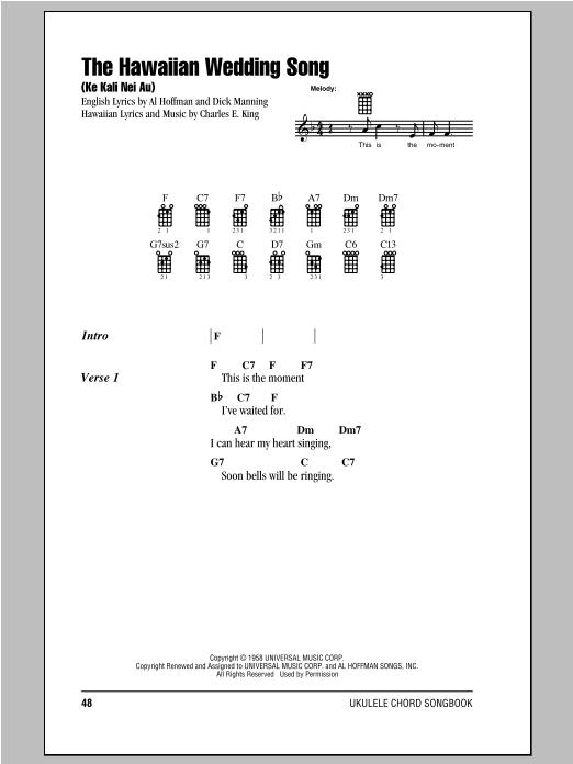 Tablature guitare The Hawaiian Wedding Song (Ke Kali Nei Au) de Andy Williams - Ukulele (strumming patterns)