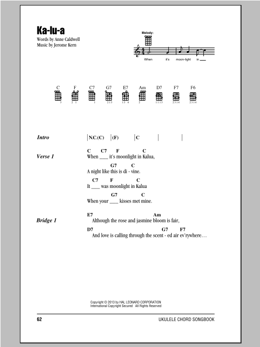 Tablature guitare Ka-lu-a de Anne Caldwell - Ukulele (strumming patterns)