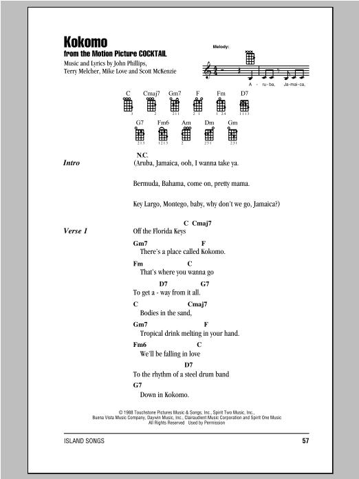 Tablature guitare Kokomo de The Beach Boys - Ukulele (strumming patterns)