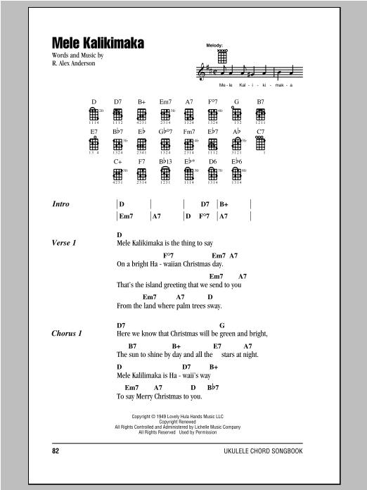 Tablature guitare Mele Kalikimaka de Bing Crosby - Ukulele (strumming patterns)