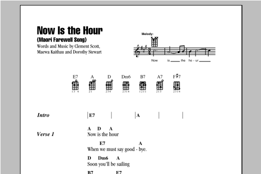Tablature guitare Now Is The Hour (Maori Farewell Song) de Bing Crosby - Ukulele (strumming patterns)