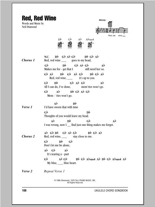Tablature guitare Red, Red Wine de Neil Diamond - Ukulele (strumming patterns)