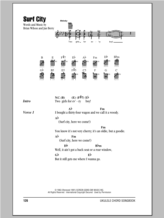 Surf City sheet music for ukulele (chords) by Jan Berry
