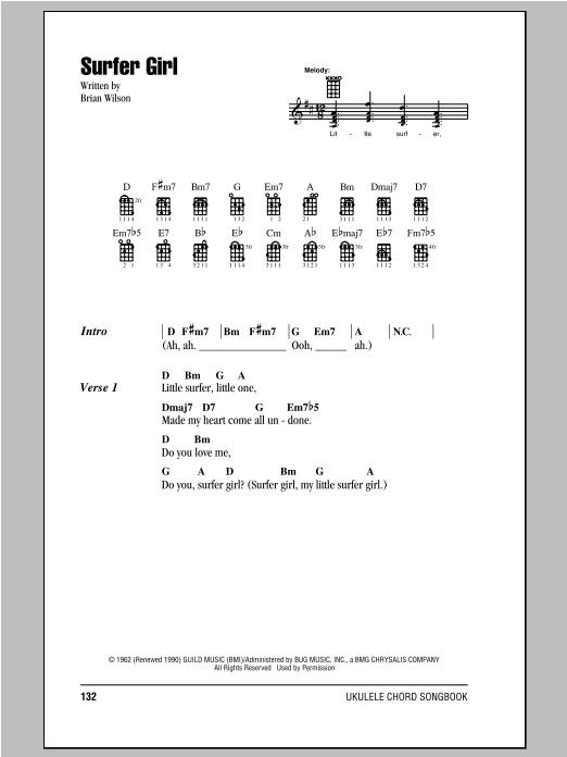 Tablature guitare Surfer Girl de The Beach Boys - Ukulele (strumming patterns)