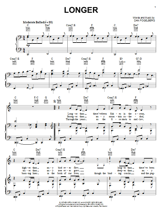 Longer sheet music for voice, piano or guitar by Dan Fogelberg