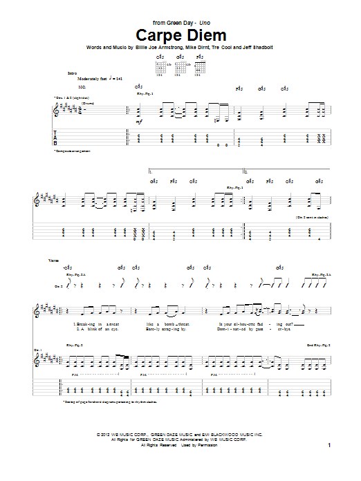 Carpe Diem sheet music for guitar solo (tablature) by Tre Cool