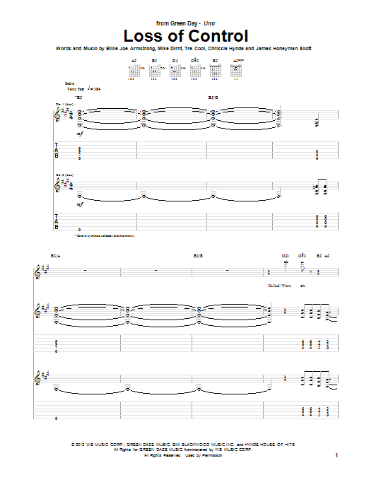 Loss Of Control sheet music for guitar solo (tablature) by Tre Cool