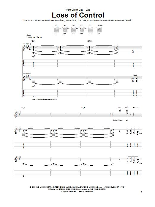Tablature guitare Loss Of Control de Green Day - Tablature Guitare