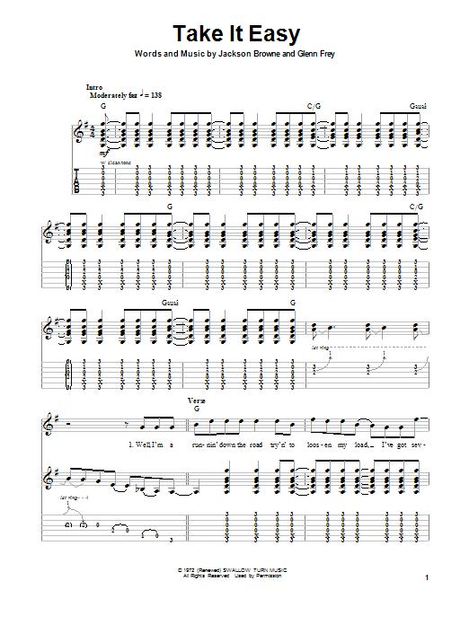 Tablature guitare Take It Easy de Eagles - Tablature Guitare