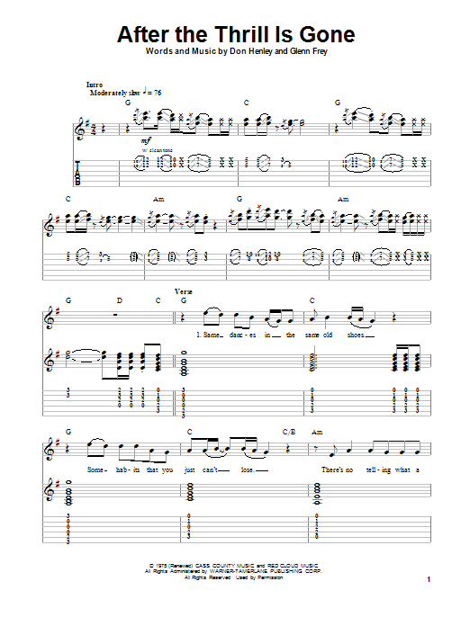 Sheet Music Digital Files To Print - Licensed Eagles Digital Sheet Music