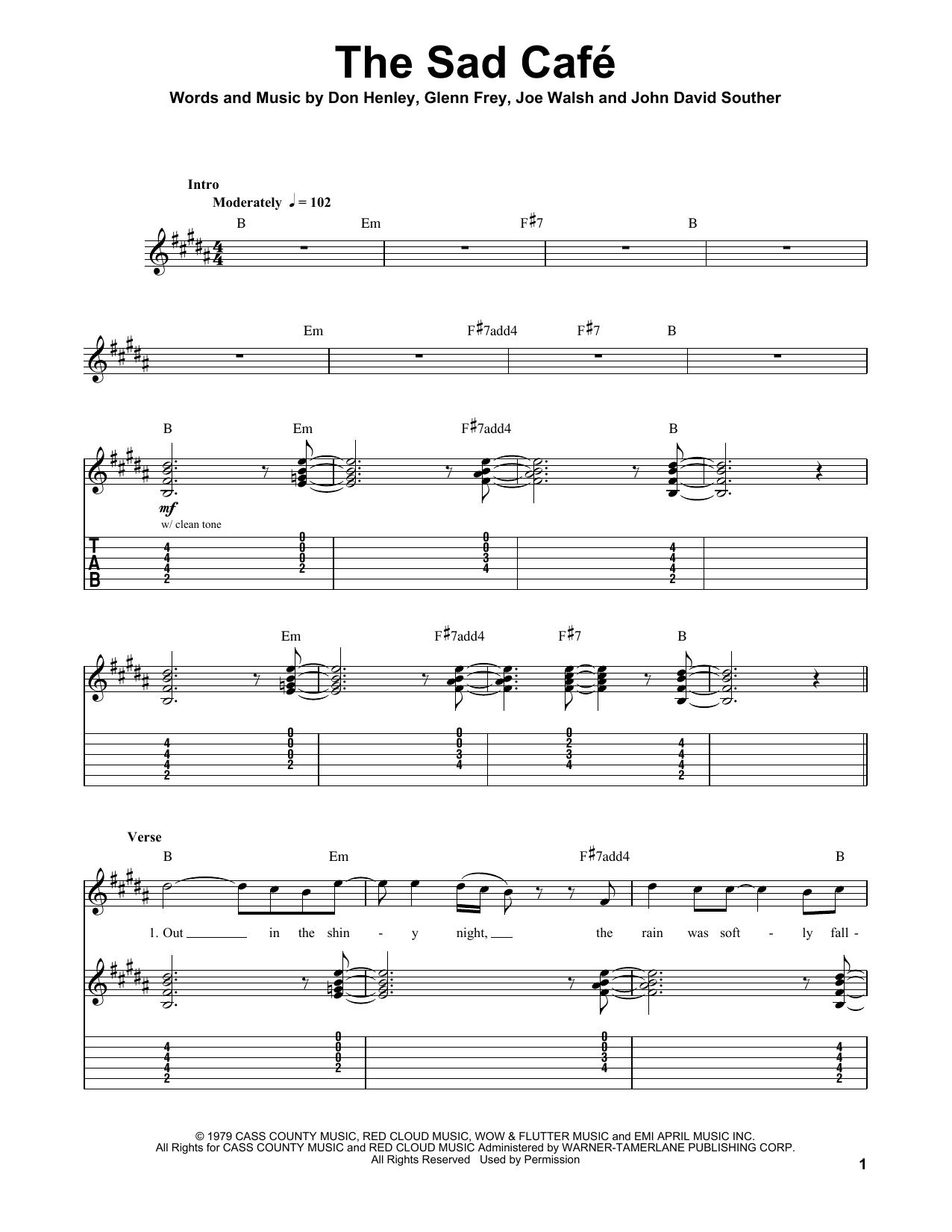 Tablature guitare The Sad Cafe de Eagles - Tablature Guitare