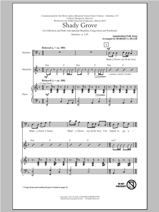 Partition chorale Shady Grove de Robert I. Hugh - SAB