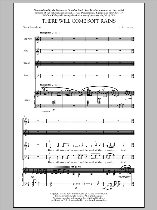 Partition chorale There Will Come Soft Rains de Sara Teasdale - SATB