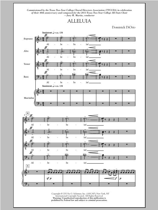 Partition chorale Alleluia (Includes Marimba) de Dominick Diorio - SATB