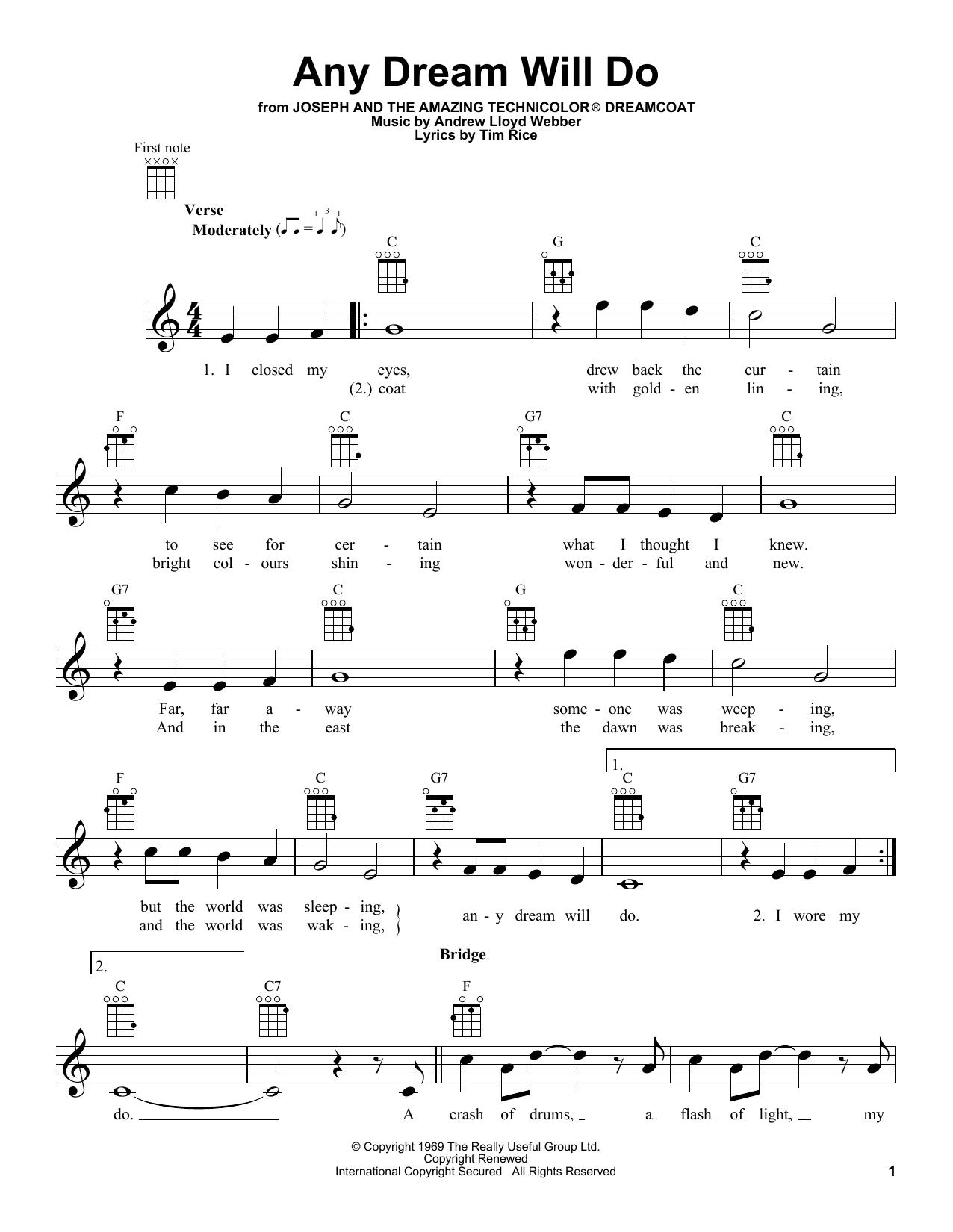 Tablature guitare Any Dream Will Do de Andrew Lloyd Webber - Ukulele