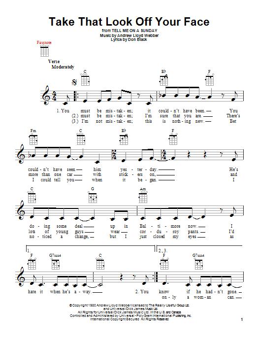 Tablature guitare Take That Look Off Your Face de Andrew Lloyd Webber - Ukulele