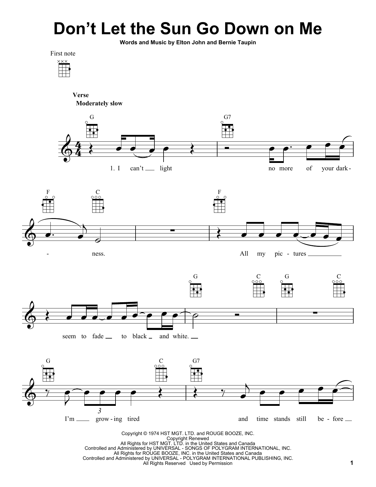 Tablature guitare Don't Let The Sun Go Down On Me de Elton John - Ukulele