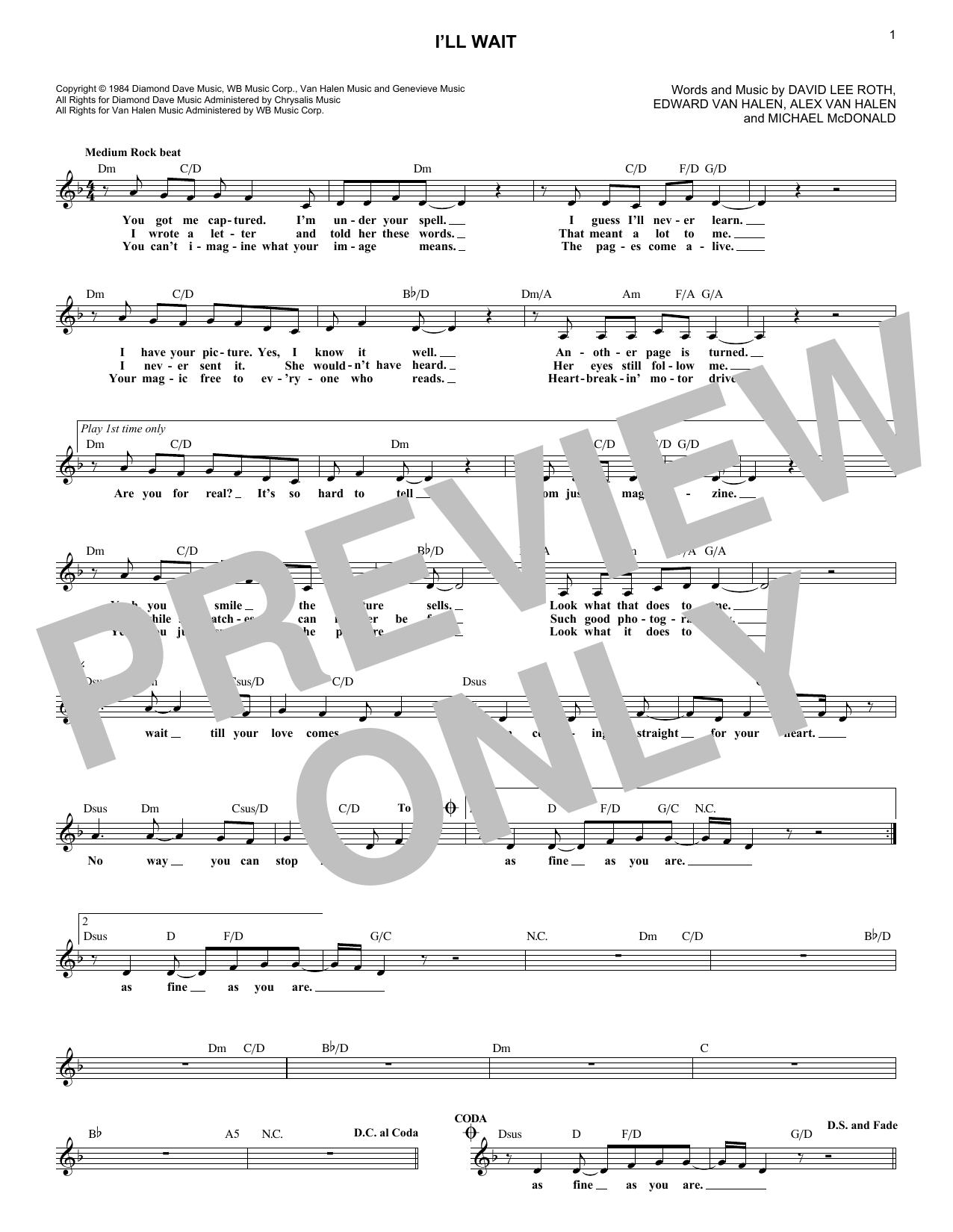 Sheet music digital files to print licensed van halen digital ill wait hexwebz Choice Image