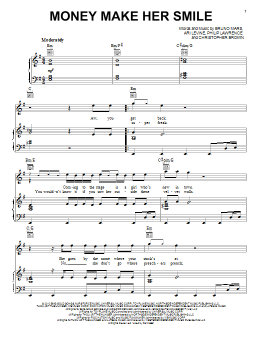 Money Make Her Smile sheet music for voice, piano or guitar by Bruno Mars