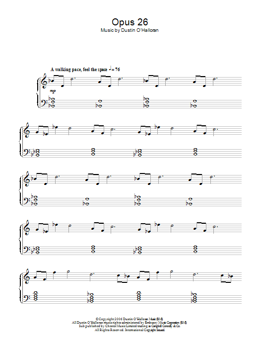 Opus 26 sheet music for piano solo by Dustin O'Halloran