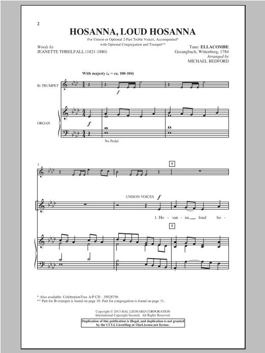 Partition autre Hosanna, Loud Hosanna de Michael Bedford - Unisson