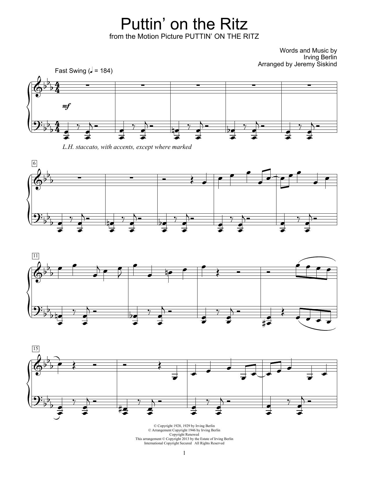 Partition piano Puttin' On The Ritz de Irving Berlin - Piano Facile
