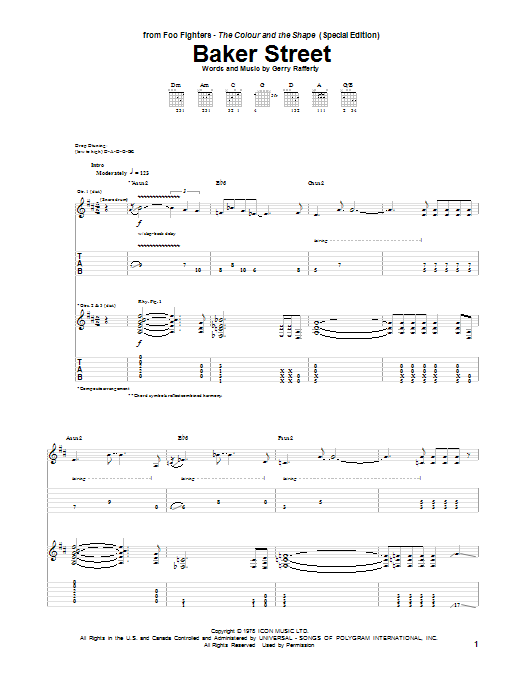 Baker Street sheet music for guitar solo (tablature) by Foo Fighters