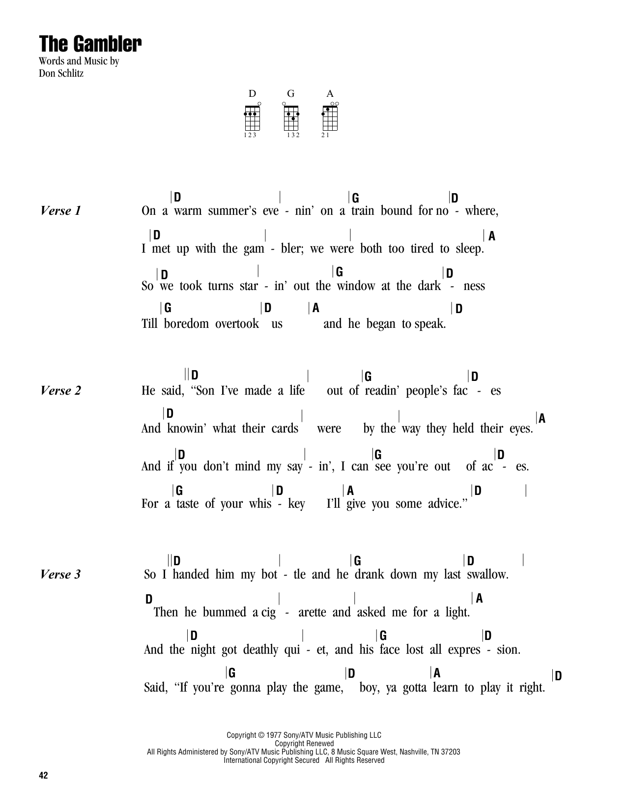 Tablature guitare The Gambler de Kenny Rogers - Ukulele (strumming patterns)