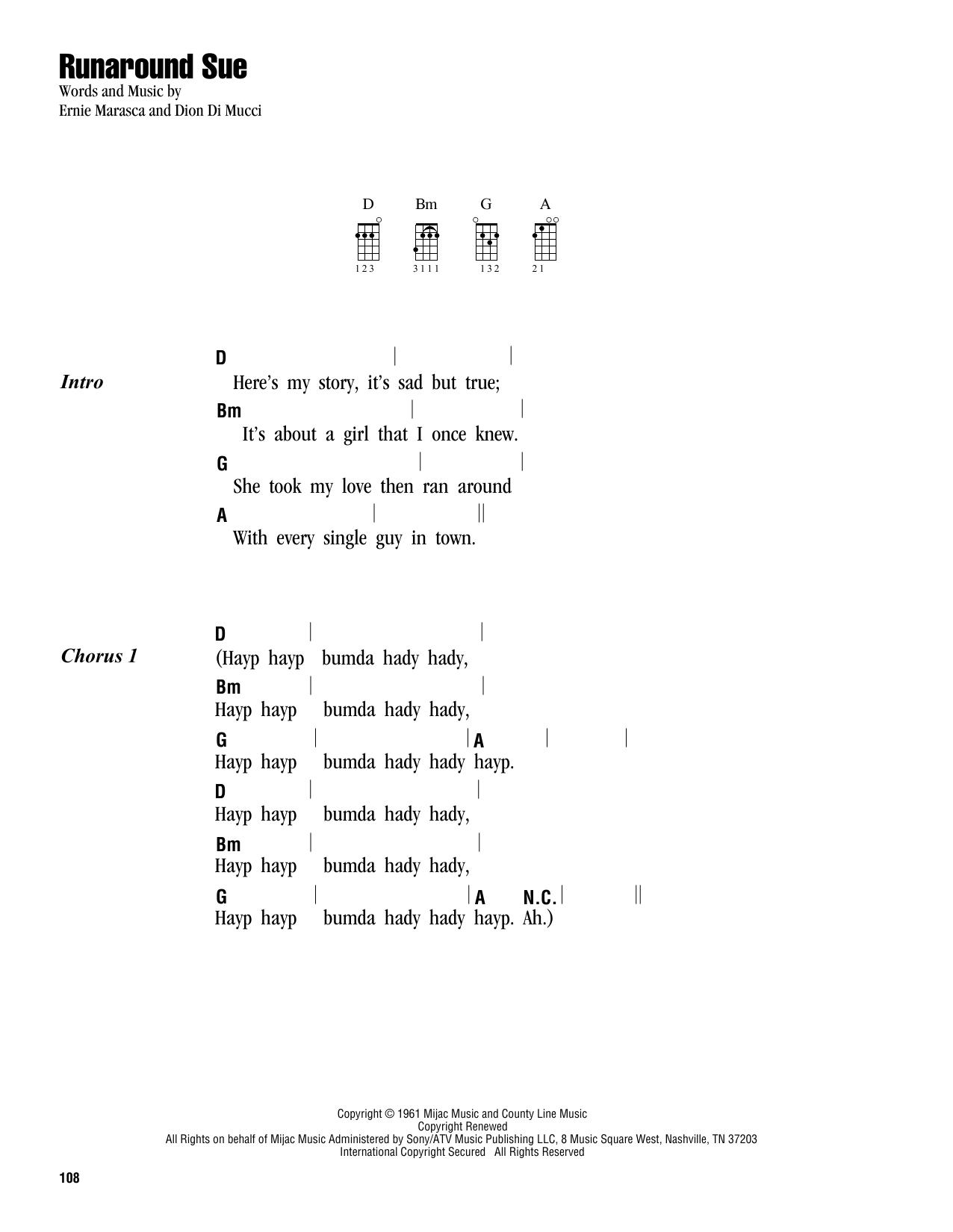 Tablature guitare Runaround Sue de Dion - Ukulele (strumming patterns)