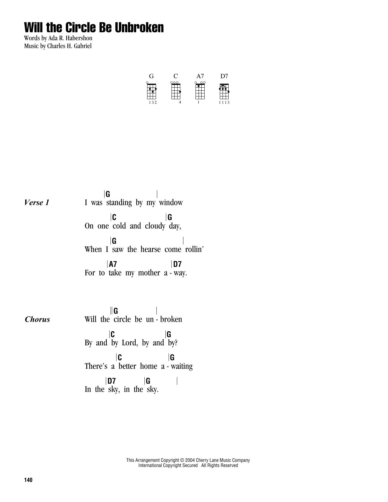 Tablature guitare Will The Circle Be Unbroken de Charles H. Gabriel - Ukulele (strumming patterns)