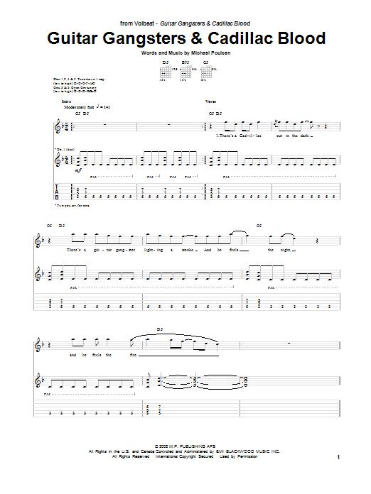 Tablature guitare Guitar Gangsters & Cadillac Blood de Volbeat - Tablature Guitare