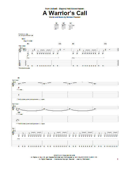 Tablature guitare A Warrior's Call de Volbeat - Tablature Guitare