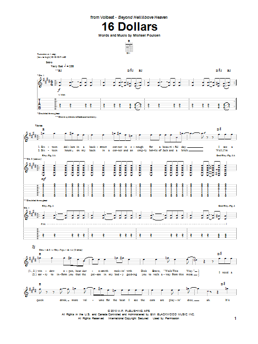 16 Dollars sheet music for guitar solo (tablature) by Michael Poulsen