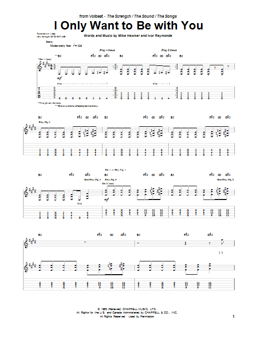 Tablature guitare I Only Want To Be With You de Volbeat - Tablature Guitare