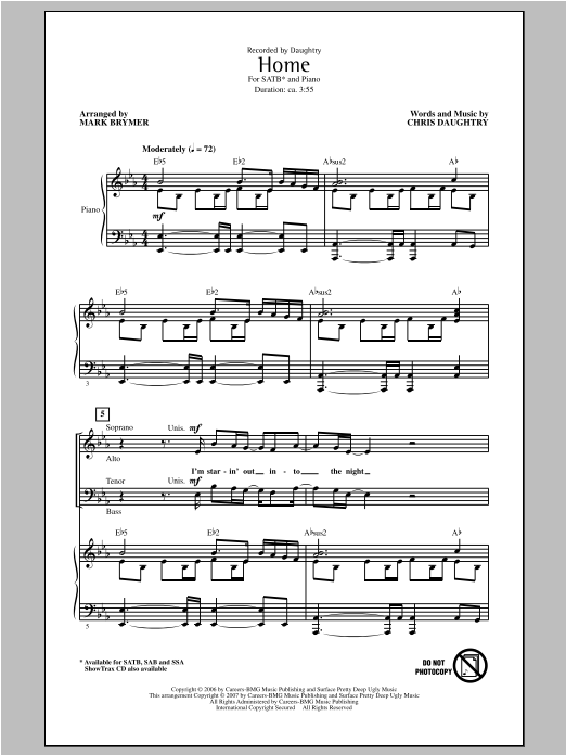 Partition chorale Home de Chris Daughtry - SATB