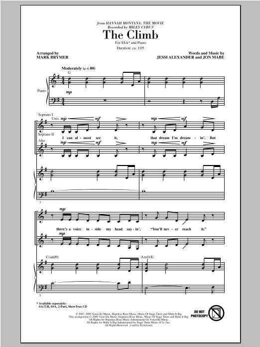 Partition chorale The Climb de Miley Cyrus - SSA