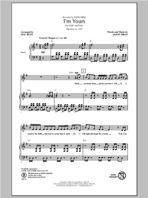 Partition chorale I'm Yours de Jason Mraz - SAB