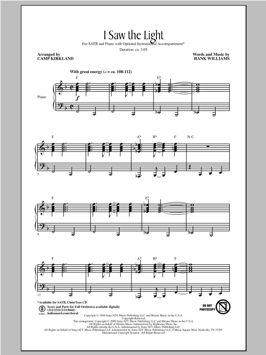 Partition chorale I Saw The Light de Hank Williams - SATB