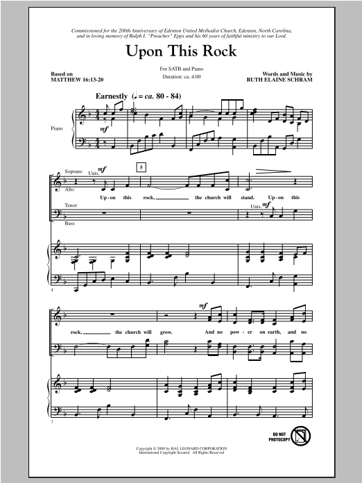 Partition chorale Upon This Rock de Ruth Elaine Schram - SATB