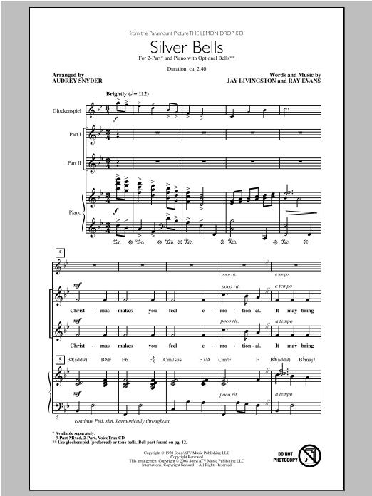 Partition chorale Silver Bells de Audrey Snyder - 2 voix