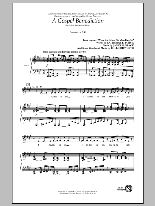 A Gospel Benediction sheet music for choir and piano (chamber ensemble) by Rollo Dilworth