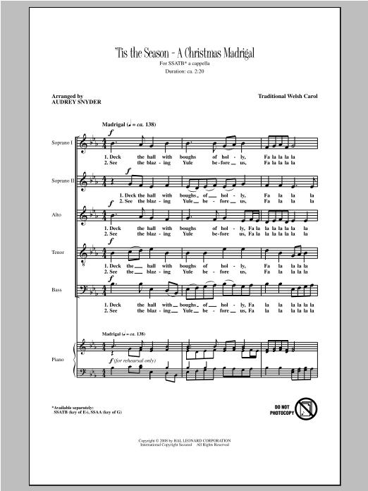 Partition chorale Deck The Hall de Audrey Snyder - SATB